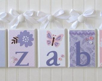 Name Blocks . Nursery Decor . Baby Name Blocks . Hanging Wood Name Blocks . Pink Lavender . Flowers Butterflies . Elizabeth