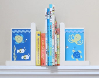 Wooden Bookends . HAND BEVELED EDGE Boutique Bookends. Custom Bookends . Matching Name Blocks . Sea Babies by Nojo Bedding
