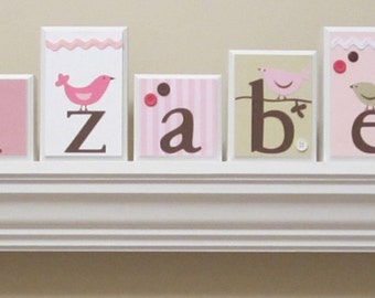 Name Blocks . Routed Edge . Nursery Name Blocks . Nursery Decor . Baby Name Blocks . Wood Name Blocks . Pink Brown Beige . Birds . Elizabeth