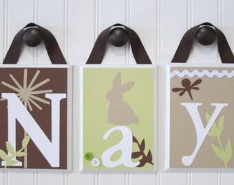 Name Blocks . Nursery Name Blocks . Nursery Decor . Baby Name Blocks . Hanging Wood Name Blocks . Bunny