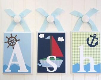 Name Blocks . Nursery Name Blocks . Nursery Room Decor . Baby Name Blocks . Hanging Wood Name Blocks . Boats . Sailboat . Nautical . Asher