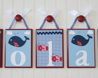 Hanging Name Letters . Wall Letters . Baby Name Blocks . Nursery Wall Decor . Under the Sea . Fish . Nautical . Whale . Nolan