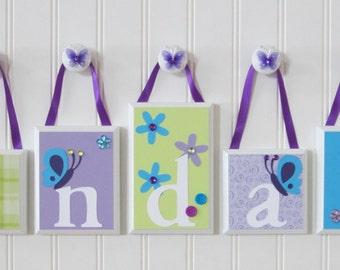 Name Blocks . ROUTED EDGE . Name Blocks . Nursery Decor . Baby Name Blocks . Aqua Lavender Purple Green . Butterfly . Flowers . Kendall