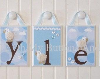 Name Blocks . Nursery Name Blocks . Nursery Decor . Baby Name Blocks . Hanging Wood Name Blocks . Lamb . Sheep .Soft Blue . Tyler
