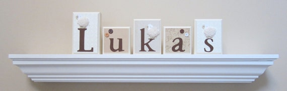 Nursery Room Decor . Routed Edge . Name Blocks . Nursery Name Blocks . Baby Name Blocks . Wood Name Blocks .  Lambie Lambs Sheep