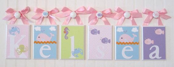 Name Blocks . Nursery Name Blocks . Nursery Decor . Baby Name Blocks . Hanging Wood Name. PBK Bedding . Girl Under the Sea Theme . Kelsea