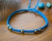 Beaded Macrame Wish Bracelet - Blue