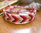 Studded Chevron Friendship Bracelet - Pink/Red