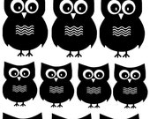 Vinyl Wall Decal......14 Hoot Owls  - 6 Large and 8 small...child children teen baby owl wall decal
