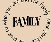 FAMILY - Be True to who You are and the Family name you bear - 11 x 11 vinyl decal - fits great on a tile - buy 4 or more and they are 6.00