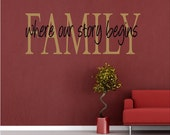 Vinyl Wall Art - FAMILY where our story begins- 18h x 48w - two color layered design