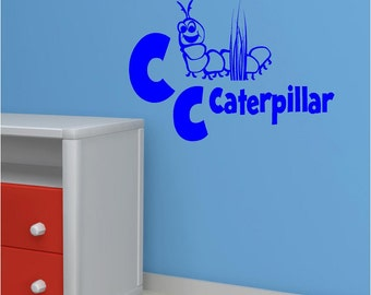 Vinyl Wall Decal......C is for Caterpillar - 10h x 14 w