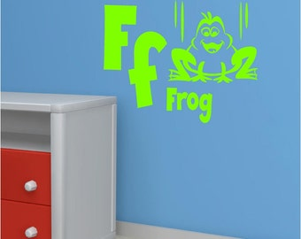 Vinyl Wall Decal......Alphabet Wall Decal - F is for FROG- 10h x 13 w