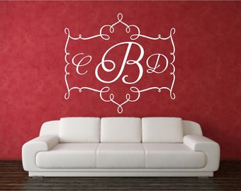 Vinyl Wall Art - Boutique Frame one with Monogram- 20h x 22w...large monogram wall decal children wedding