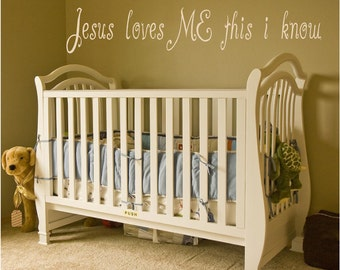 Christian Vinyl Wall Decal......Jesus loves me this I know..... 4h x 22w scripture religious christian