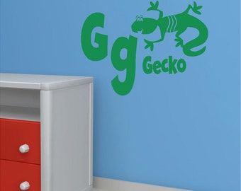 Vinyl Wall Decal......Alphabet Wall Decal - G is for GECKO - 10h x 14 w