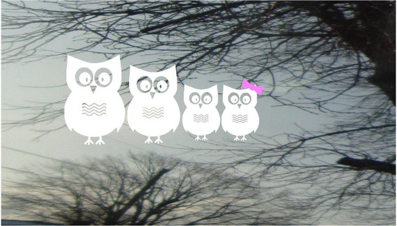 Vinyl Car Window Decal 4h x 9 - Set of 4 owls...PaPa, MaMa, and two little ones - really cute family FREE Pink Bows for the little girls