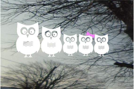 Owl Family Vinyl Car Window Decal - 4h x 10.5w - Set of 5 owls...PaPa, MaMa, and 3 little ones - really cute family FREE pink bows/Blue Caps
