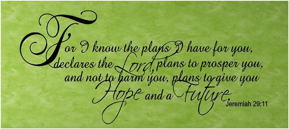 Scripture Vinyl Wall Decal.....For I know the plans I have for you...Jerimiah 29:11...22h  X 48w...God faith religious christian wall art