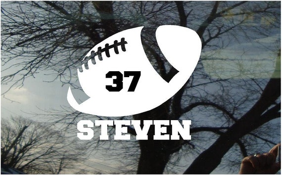 Vinyl Car Window Decal 6h x 5w - Football with Player's name and number.....sports personalized