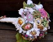 Brooch Bouquet vintage Wedding bridal bouquet includes FREE toss / bridesmaid bouquet