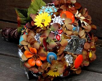 Cowgirl Country Western brooch bouquet brown silk wedding bouquet