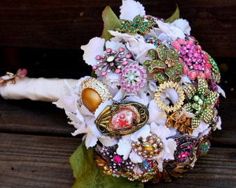 Brooch Bouquet vintage Wedding bridal bouquet includes FREE toss / bridesmaid bouquet