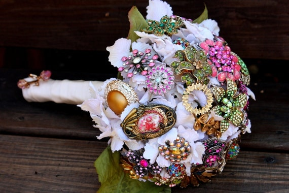 Brooch Bouquet vintage Wedding bridal bouquet includes FREE toss / bridesmaid bouquet Deposit only