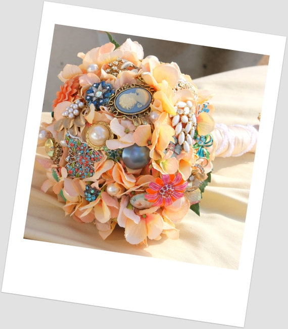 Bridal Bouquet Made Of Jewels : Brooch bouquet vintage bridal peach jewelry button