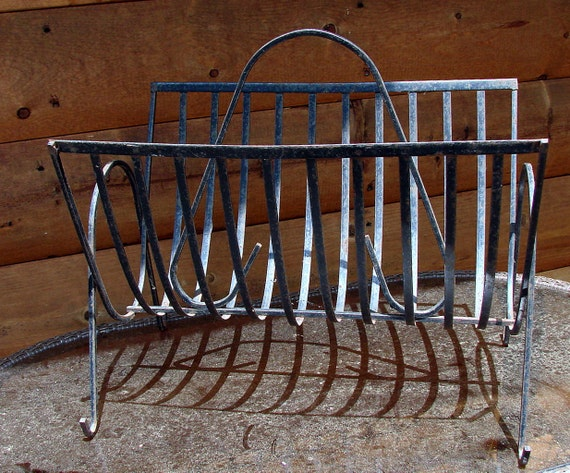 Vintage Wrought Iron Magazine Rack By Rusticcreek On Etsy