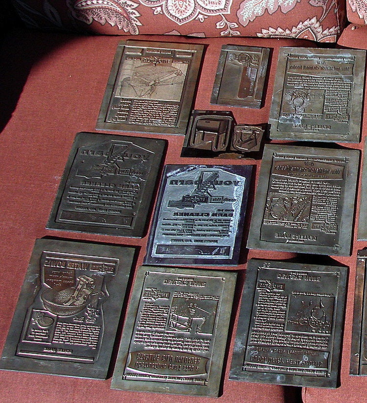 Old Advertising Printing Press Plates Heavy Lead By