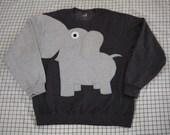 Elephant sweatshirt with a trunk arm. elephant shirt, elephant sweater. adult unisex sizes, CHARCOAL grey, cosplay