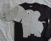 Elephant trunk sleeve t shirt, BLACK,  UNISEX adult sizes, small, medium, large, Xlarge, 2Xlarge