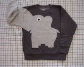 NEW Elephant Trunk sleeve sweatshirt sweater jumper KIDS XS,S,M,L Charcoal