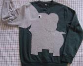 Dark green Elephant sweatshirt, adult elephant shirt, elephant jumper, trunk sleeve, adult unisex size elephant sweater, animal shirt