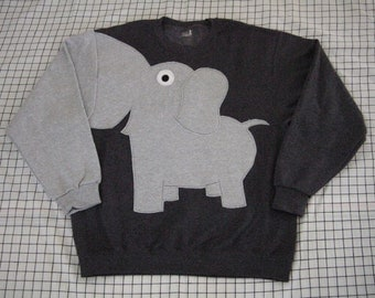 Elephant sweatshirt with a trunk arm. elephant shirt, elephant sweater. adult unisex sizes, CHARCOAL grey, cosplay