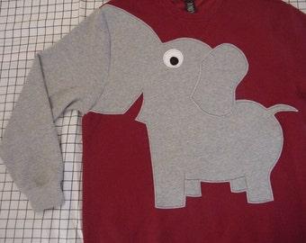 RED elephant Trunk sleeve sweatshirt, red elephant sweatshirt, Alabama crimson tide, Unisex adult sizes, Republican, GOP, back to school