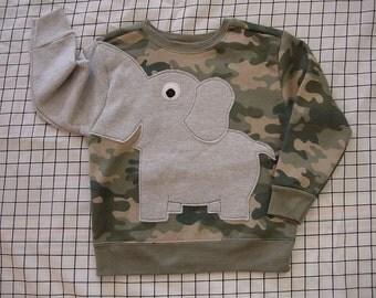 Kids Elephant Trunk sleeve sweatshirt, sweater, jumper toddler 3T, 4T or 5T, CAMo pattern