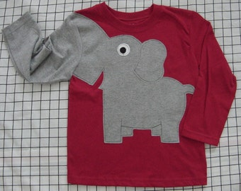 Elephant trunk sleeve toddlers shirt, long sleeve t-shirt,  size 2T or 5T, crewneck RED