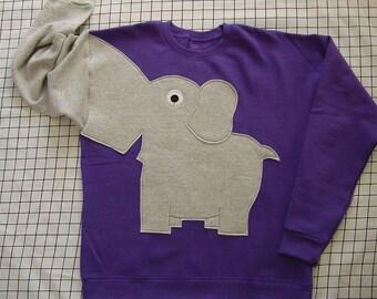 Elephant Trunk sleeve sweatshirt, elephant sweater, jumper, childrens, KIDS small, medium or Large Grape Purple