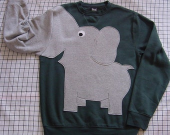 Dark green Elephant sweatshirt, adult elephant shirt, elephant jumper, trunk sleeve, adult unisex size elephant sweater, animal shirt