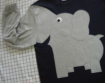 Navy blue shirt, Elephant trunk long sleeve t-shirt, Navy BLUE with grey elephant, unisex adult size Small. Elephant costume