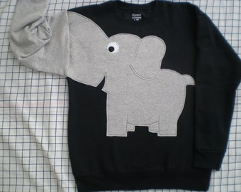 Childrens Elephant Trunk sleeve sweatshirt, sweater, jumper, KiDS, small, medium,  Black