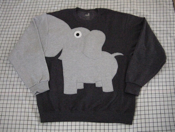 Fun Elephant Trunk sleeve sweatshirt  mens  L CHARCOAL