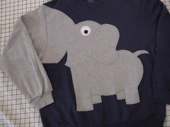 Elephant Trunk sleeve sweatshirt sweater jumper LADIES XXL NAVY Blue