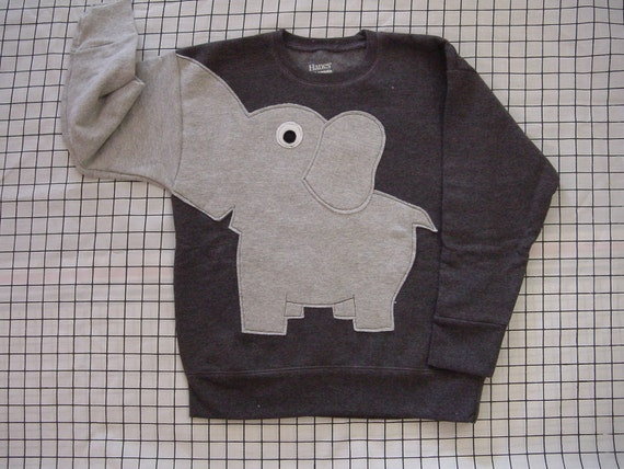 NEW Elephant Trunk sleeve sweatshirt sweater jumper KIDS XS,S,M,L Charcoal