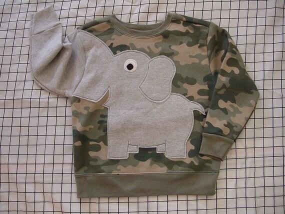 NEW Elephant Trunk sleeve sweatshirt sweater jumper KIDS 4t 5t CAMO