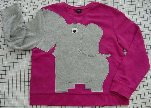 Fun Elephant Trunk sleeve sweatshirt ladies L MAGENTA