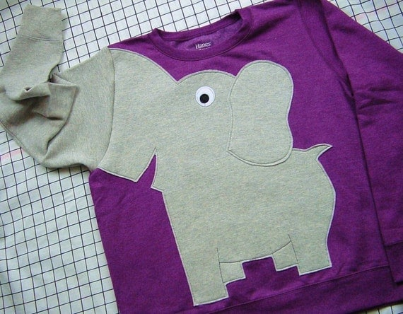 Elephant Trunk sleeve sweatshirt sweater jumper LADIES L GRAPE
