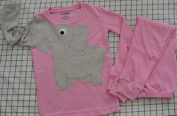 Elephant trunk sleeve 2pc thermal set shirt and pants pyjamas or longjohns size 6 PINK